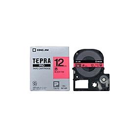 「テプラ」PROテープ 12mm パステル赤に黒文字