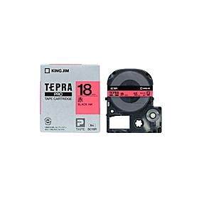 「テプラ」PROテープ 18mm パステル赤に黒文字