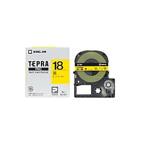 「テプラ」PROテープ 18mm パステル黄に黒文字