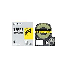 「テプラ」PROテープ 24mm パステル黄に黒文字