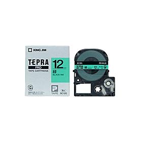 「テプラ」PROテープ 12mm パステル緑に黒文字