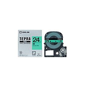 「テプラ」PROテープ 24mm パステル緑に黒文字
