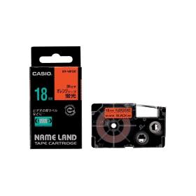 ネームランドテープ 18mm 蛍光オレンジに黒文字 327705
