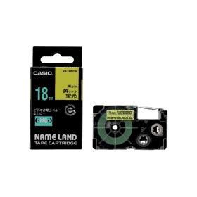 ネームランドテープ 18mm 蛍光黄に黒文字 327704
