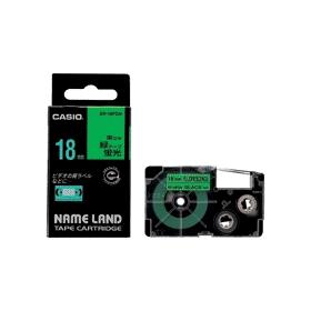 ネームランドテープ 18mm 蛍光グリーンに黒文字 327707