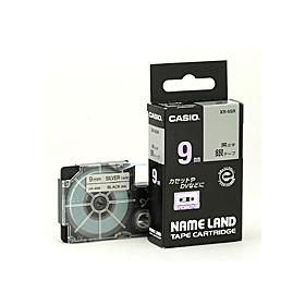 ネームランドテープ 9mm 銀に黒文字 327074