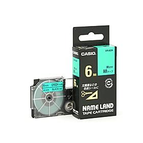 ネームランドテープ 6mm 緑に黒文字 320741