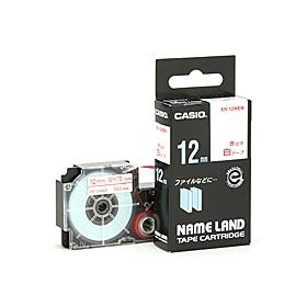 ネームランドテープ 12mm 白に赤文字 322326