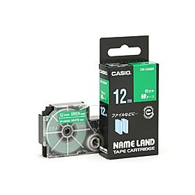 ネームランドテープ 12mm 緑に白文字