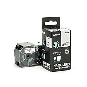 ネームランドテープ 46mm 透明に黒文字