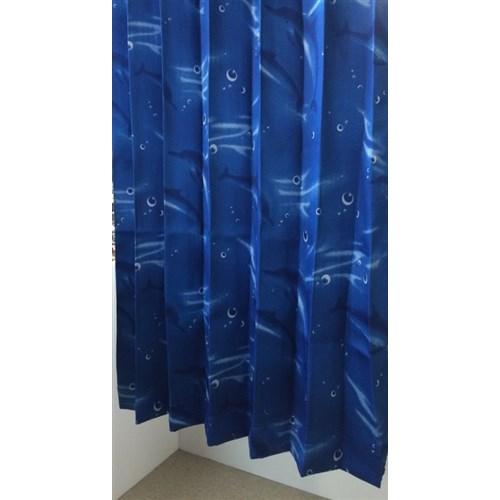遮光プリントカーテン 「イルカさん」 約100×135cm 2枚組 ブルー