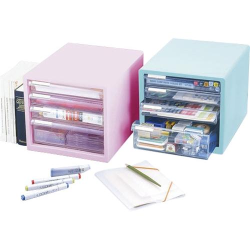 カラーレターケース F4(浅型3段・深型1段) ピンク