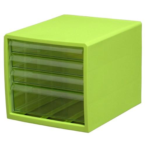 カラーレターケース F4(浅型3段・深型1段) グリーン