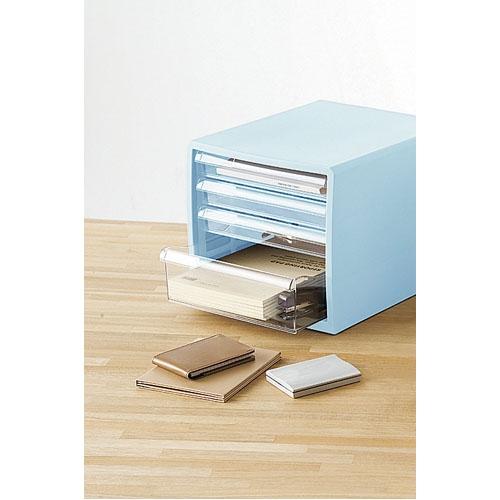 カラーレターケース F4(浅型3段・深型1段) ブルー