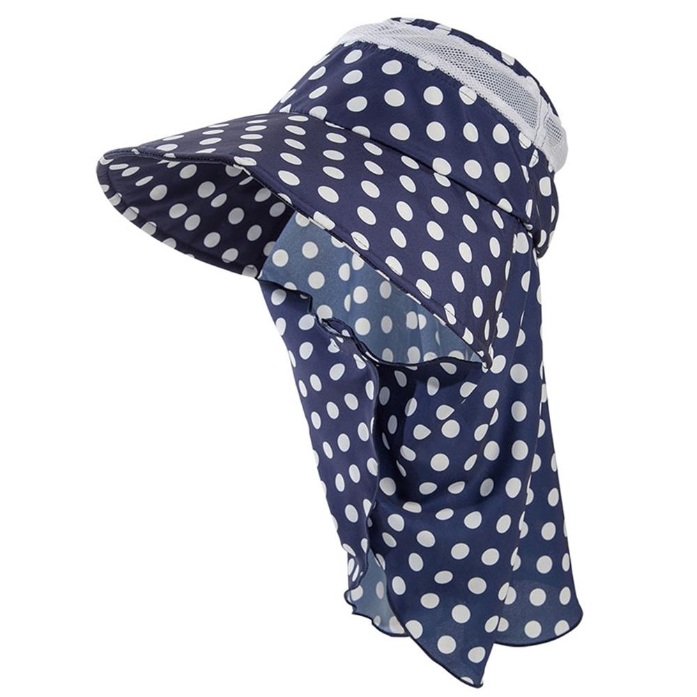 ユニワールド 防蚊農園帽オリビア 水玉ネイビー  NS-127