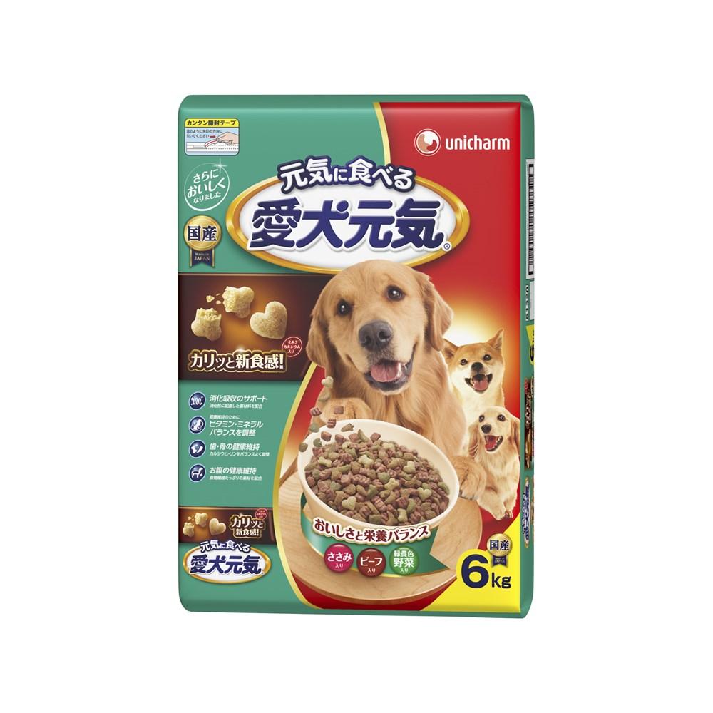 ◎愛犬元気全成長段階用ささみ・ビーフ・緑黄色野菜入り6kg【ドッグフード ドライ】