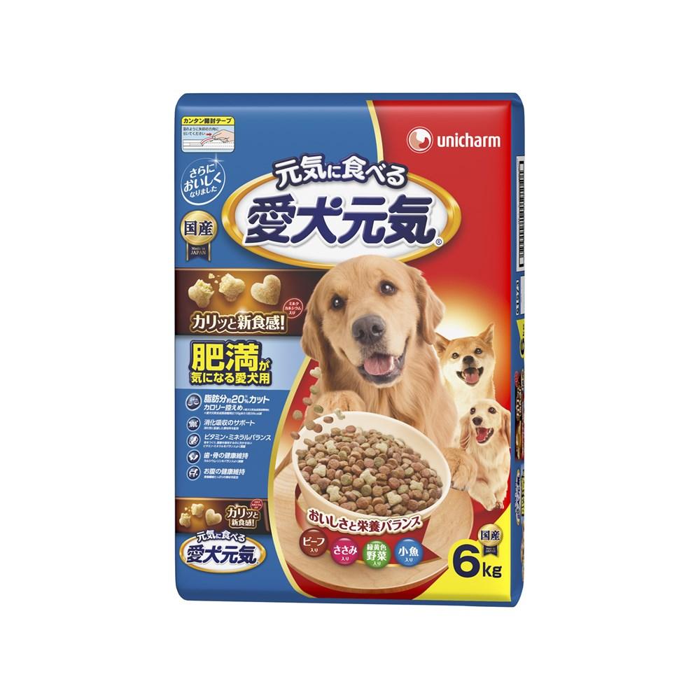 ◎ユニ・チャーム 愛犬元気肥満が気になる愛犬用ビーフ・ささみ・緑黄色野菜・小魚入り6kg【ドッグフード ドライ】
