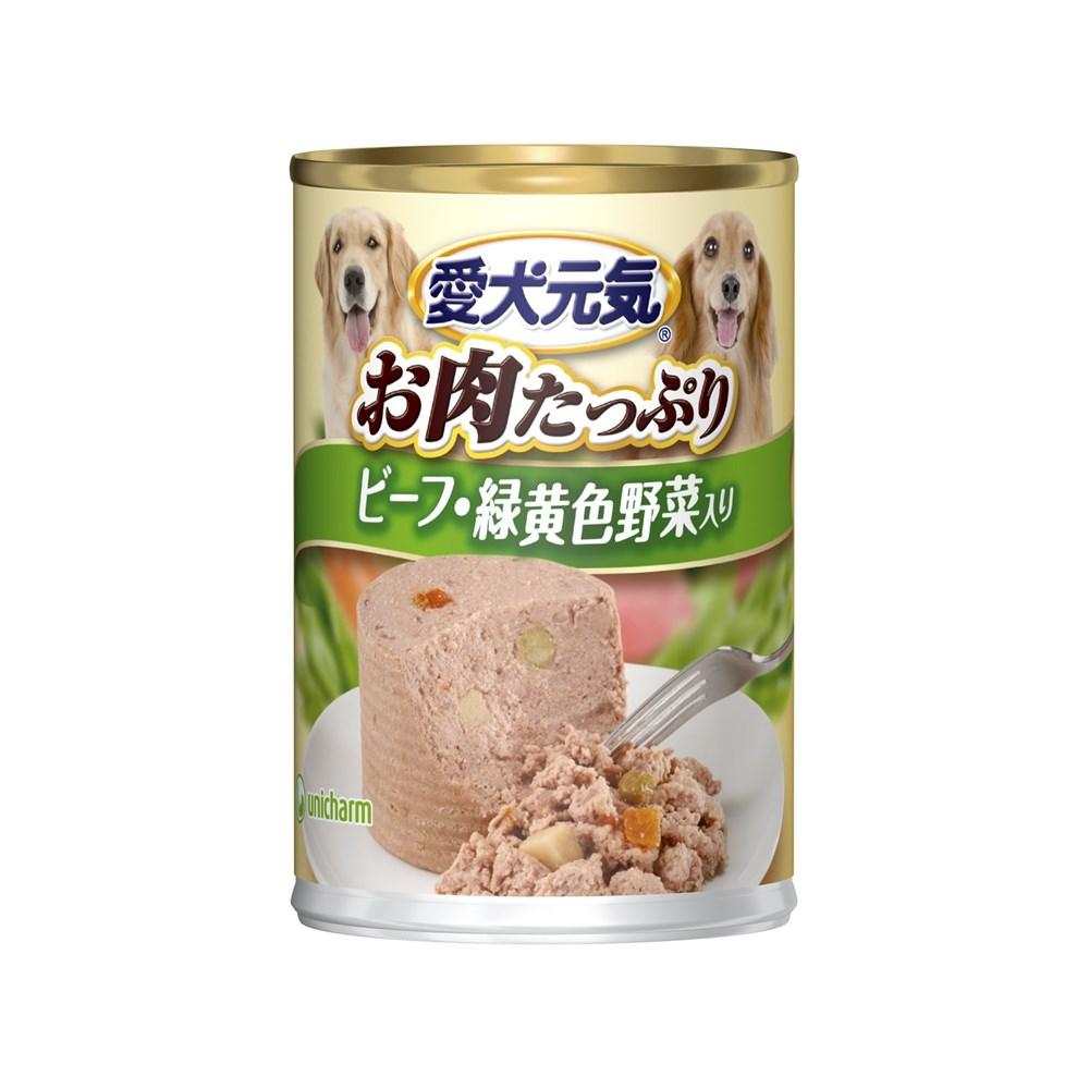 ユニ・チャーム 愛犬元気缶ビーフ・緑黄色野菜入り375g【ドッグフード ウェット】