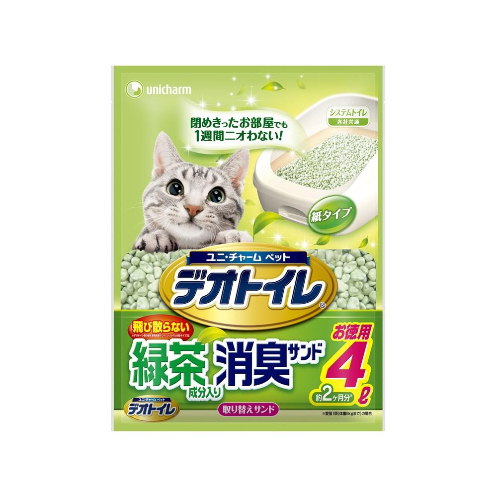 ◎ユニ・チャーム デオトイレ 飛び散らない緑茶成分入り消臭サンド4L【システムトイレ用猫砂】