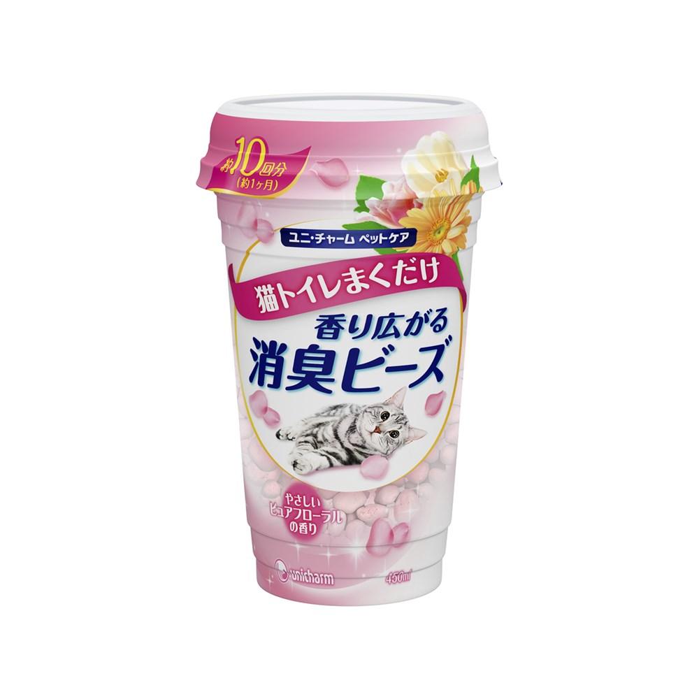 ユニ・チャーム 猫トイレまくだけ 香り広がる消臭ビーズやさしいピュアフローラルの香り450ml【猫トイレ用消臭ビーズ】