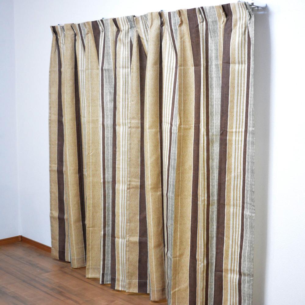 コーナン オリジナル カーテンレイス ブラウン 2枚組 約幅100×丈135cm