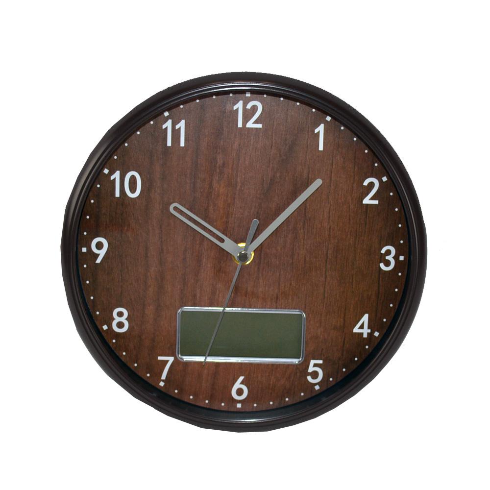 コーナン オリジナル 木調置き掛け時計BR 日付付き FX−7828Q2