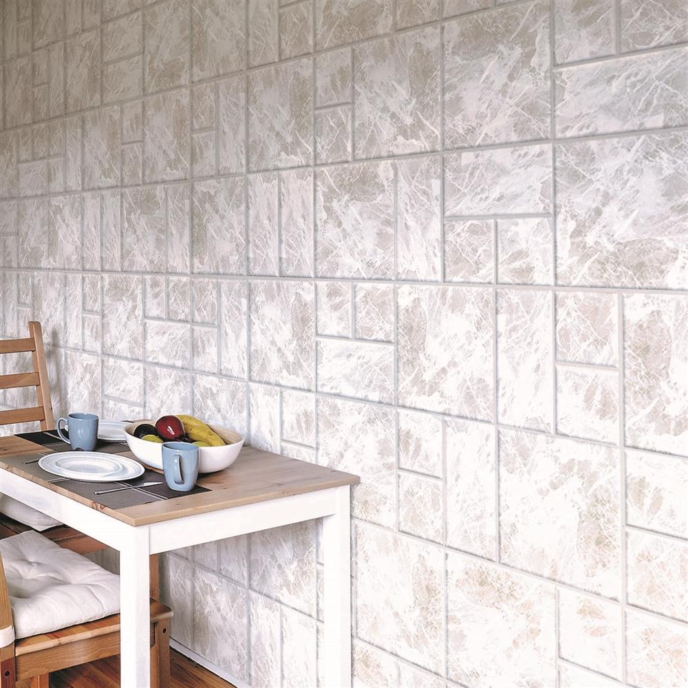 コーナン オリジナル 壁デコパネル大理石調 約28×56cm WH 2枚入