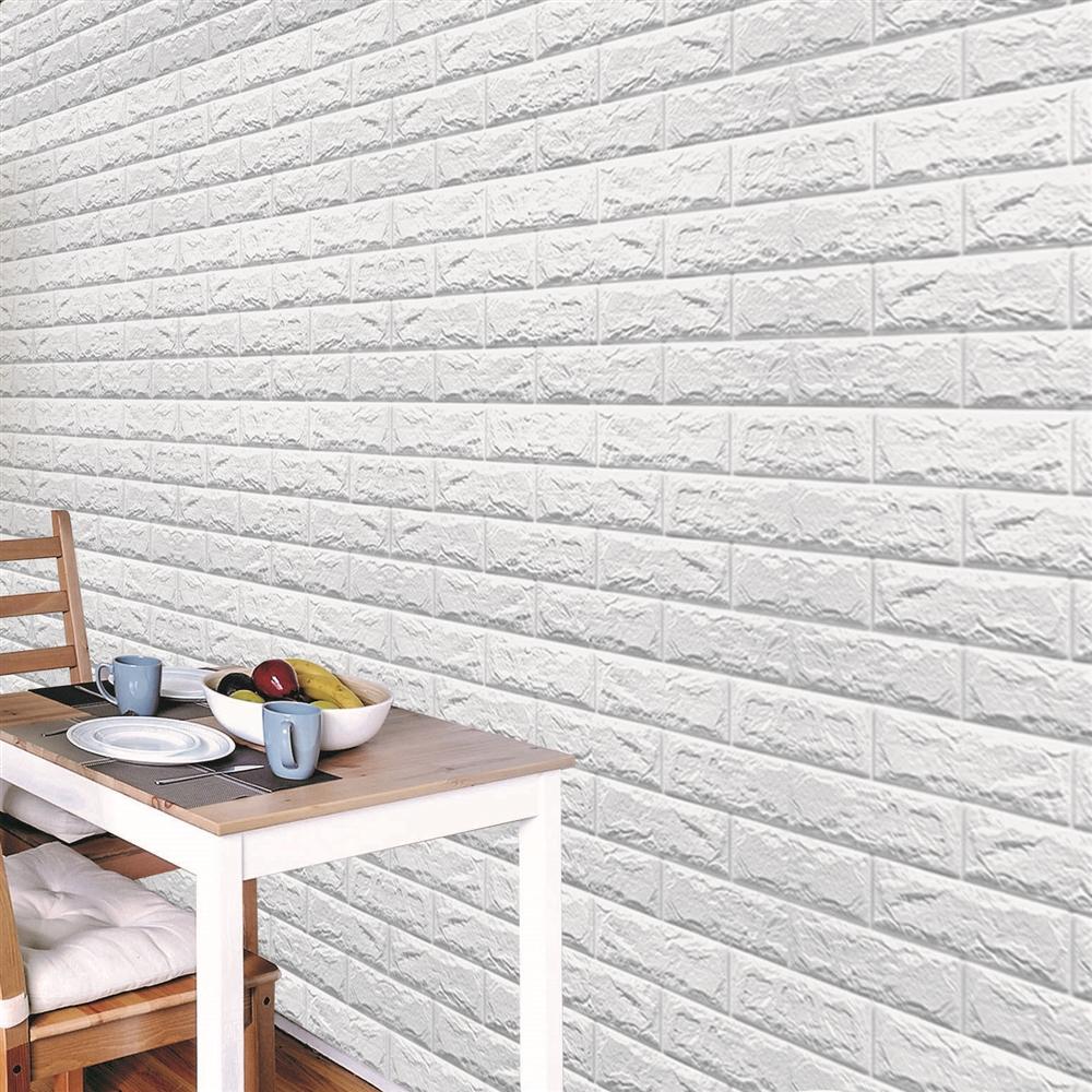 コーナン オリジナル 壁デコパネルレンガ調 (約)横71cm × 縦77cm  厚さ1cm+0.2cm ホワイト