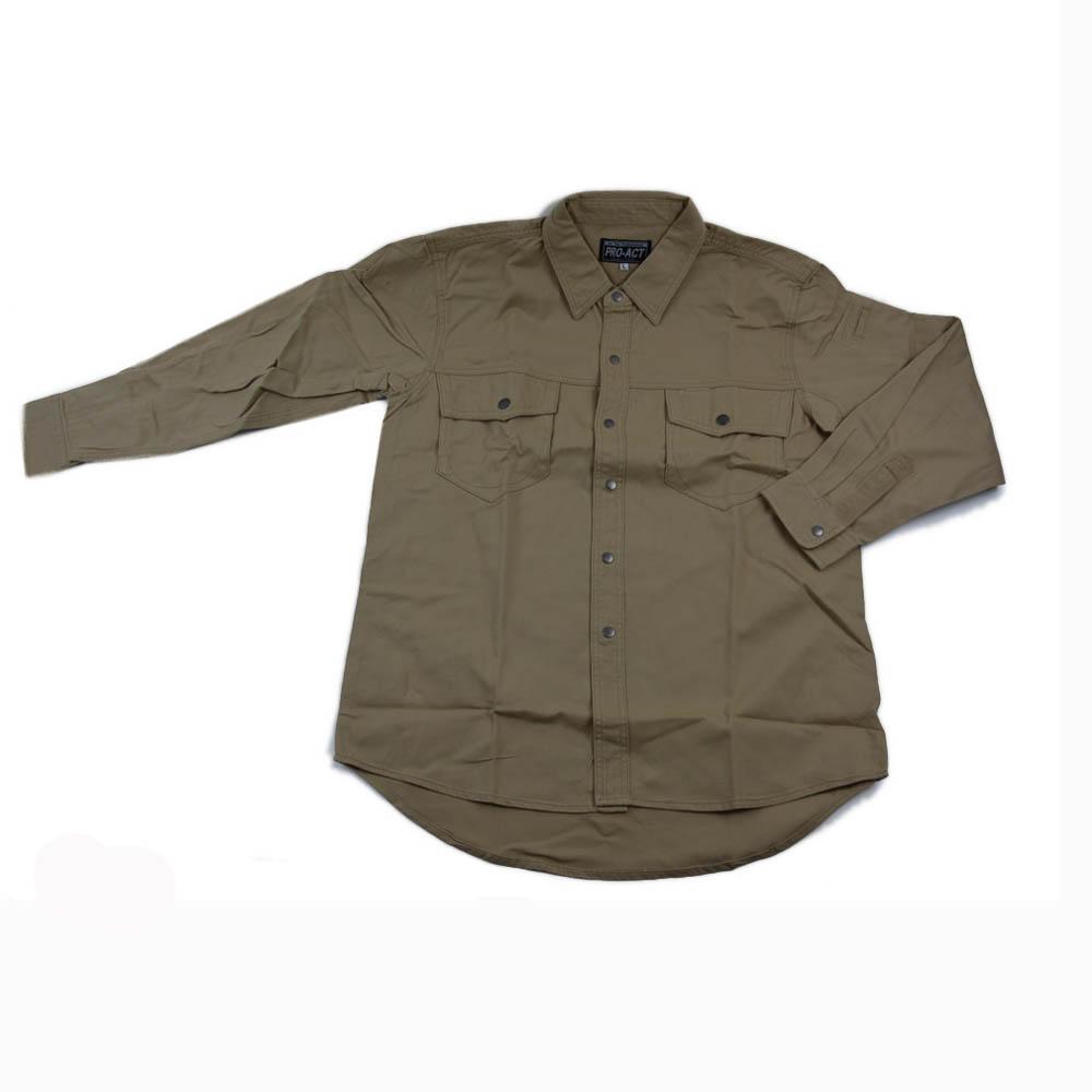 コーナン オリジナル PROACT 綿長袖シャツ L カーキ