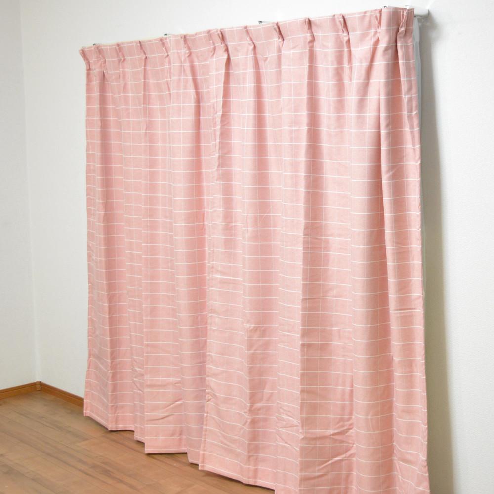 コーナン オリジナル 遮光性カーテン 「チェック」 ピンク 2枚組 約幅100×丈135cm