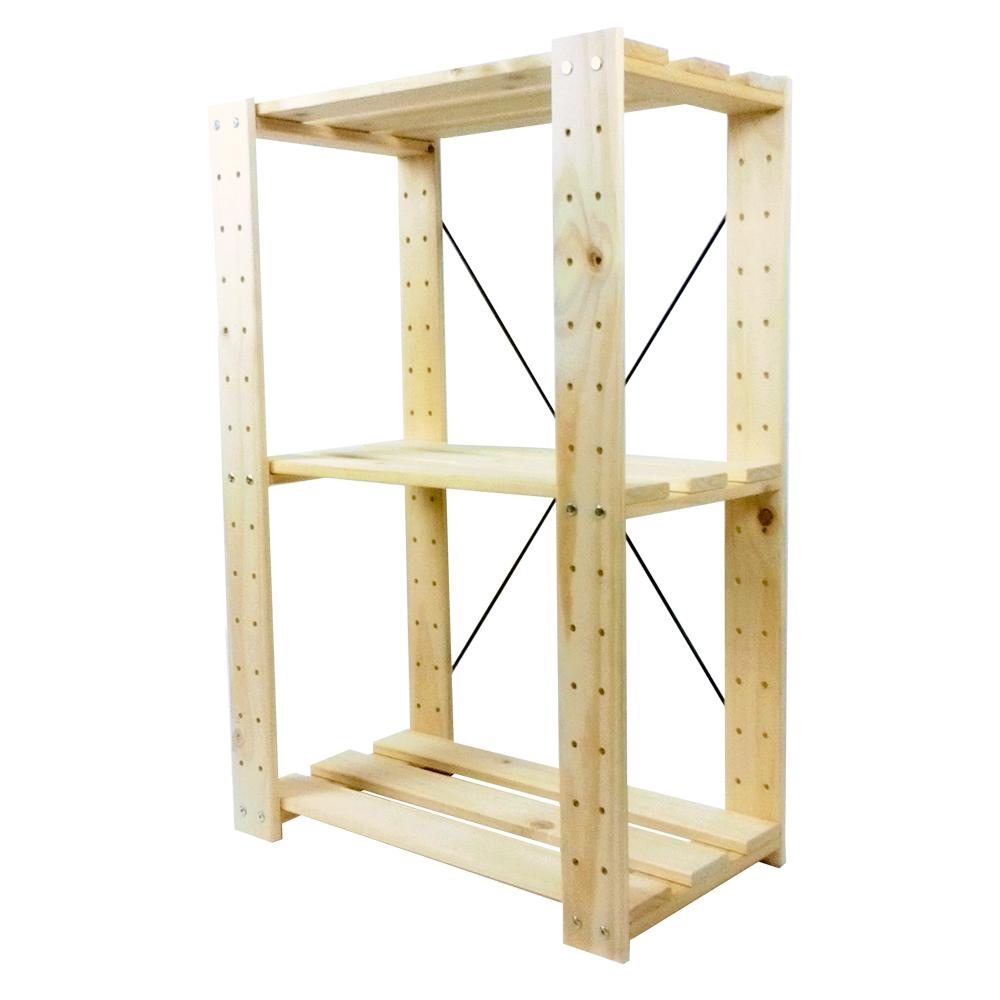 コーナン オリジナル 木製ラック3段(無塗装) WR2 約W60XD33XH90cm ※お客さま組立品