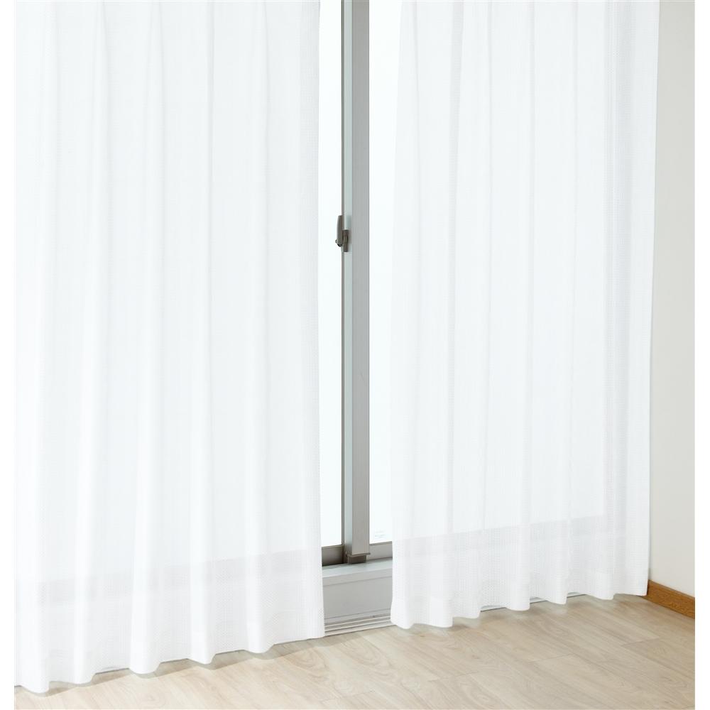 レースカーテン クリア 2枚組 幅100×高さ133cm ホワイト