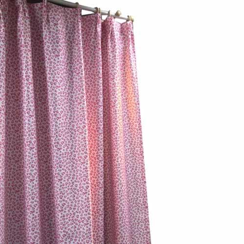 カーテン レパード 2枚組 幅100×高さ135cm 2枚組 ピンク