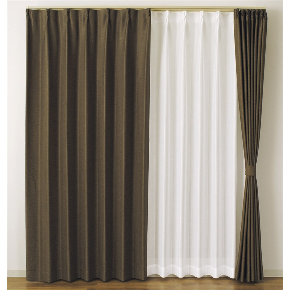 カーテン アトム 2枚組 幅100×高さ135cm 2枚組  ブラウン