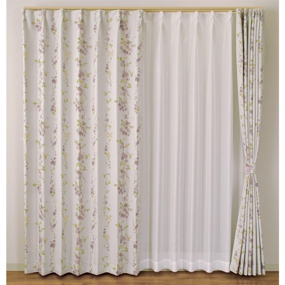 カーテン ブルーム 2枚組 幅100×高さ135cm 2枚組  パープル