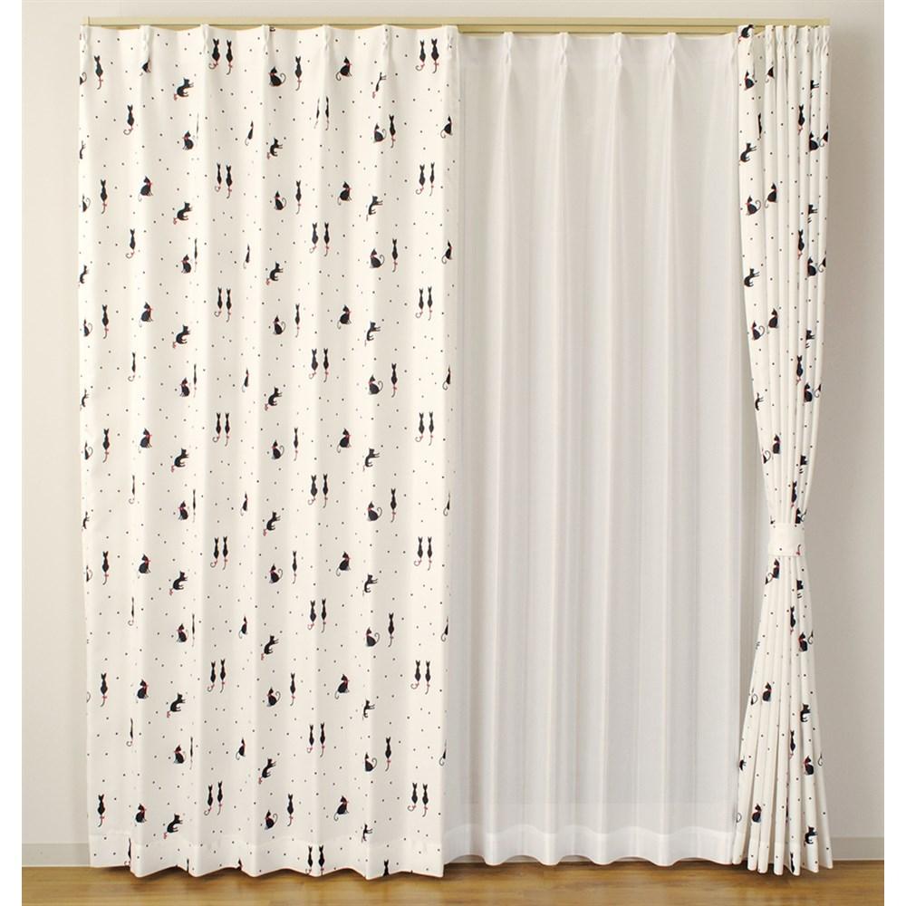 カーテン ミネ 2枚組 幅100×高さ135cm 2枚組  ホワイト