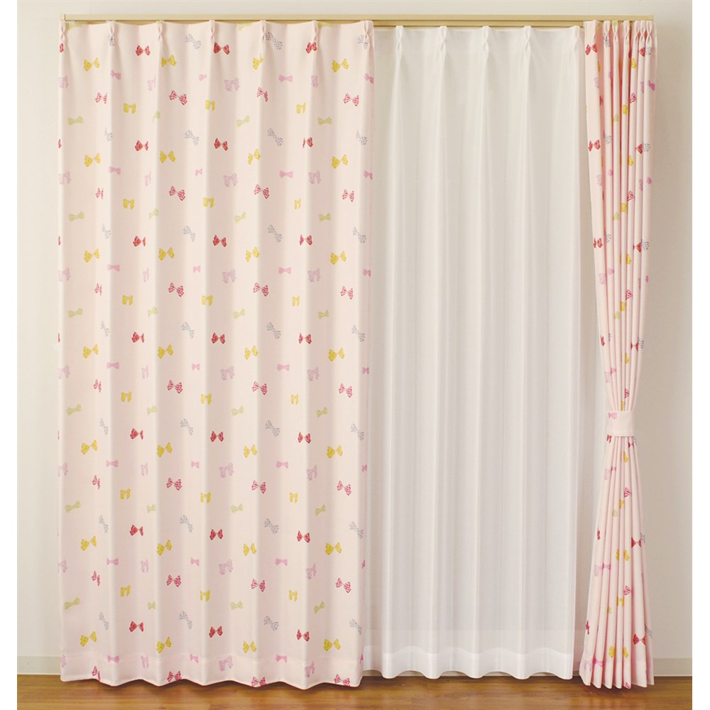 カーテン リボン 2枚組 幅100×高さ135cm 2枚組  ピンク