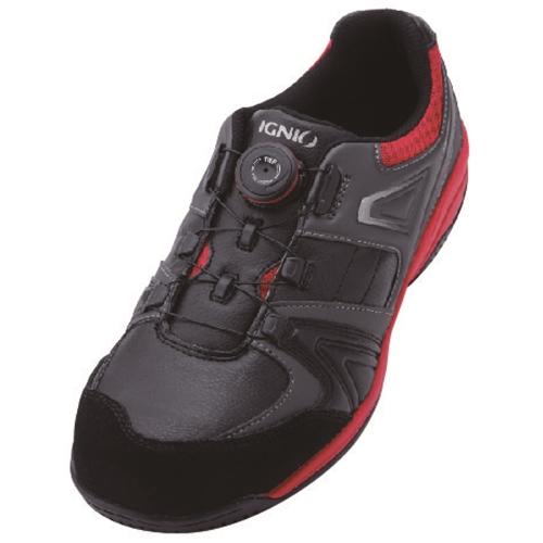 イグニオ 安全靴 ダイヤル IGS1027BKRD25.0