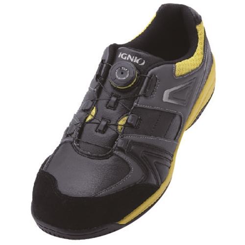 イグニオ 安全靴 ダイヤル IGS1027BKYL25.0