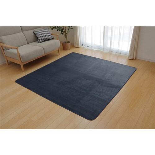 イケヒコ・コーポレーション(IKEHIKO)  ラグ カーペット 2畳 洗える 抗菌 防臭 無地 『ピオニー』 ブルー 約185×185cm (ホットカーペット対応)