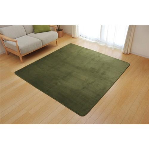 イケヒコ・コーポレーション(IKEHIKO)  ラグ カーペット 3畳 洗える 抗菌 防臭 無地 『ピオニー』 グリーン 約200×250cm (ホットカーペット対応)