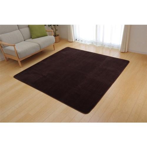 ラグ カーペット 4畳 洗える 抗菌 防臭 無地 『ピオニー』 ブラウン 約200×300cm (ホットカーペット対応)