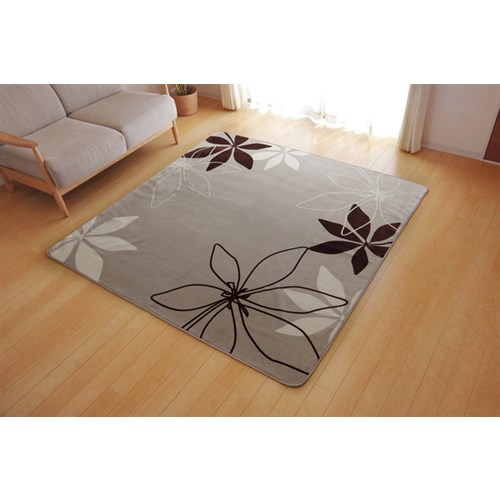 イケヒコ・コーポレーション(IKEHIKO)  ラグ カーペット 3畳 洗える 花柄 リーフ柄 『WSパキラ』 ベージュ 約200×250cm (ホットカーペット対応)