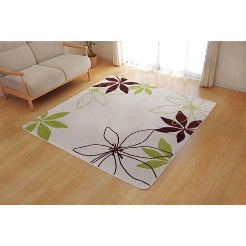 イケヒコ・コーポレーション(IKEHIKO)  ラグ カーペット 3畳 洗える 花柄 リーフ柄 『WSパキラ』 グリーン 約200×250cm (ホットカーペット対応)