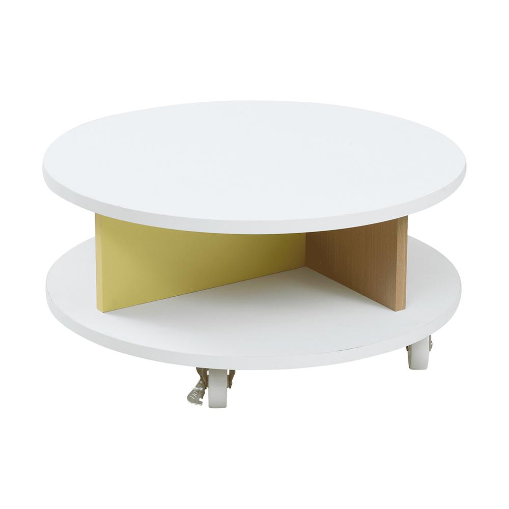 ハッピーカラフル 直径60cm 丸型 センターテーブル 高さ30 キャスター付き コーディネイトしやすい シンプル家具