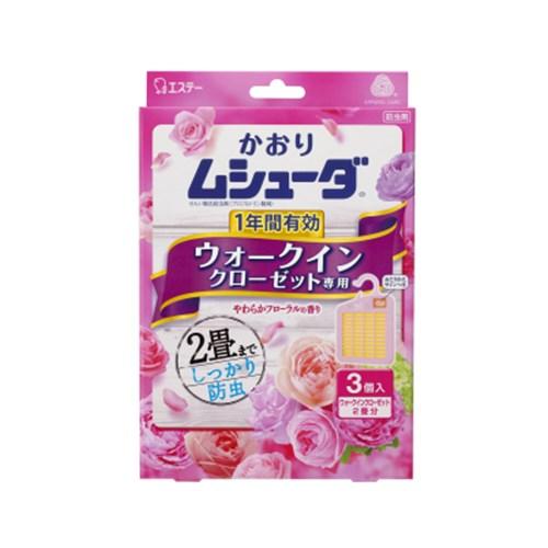 かおりムシューダ 1年間有効 ウォークインクローゼット専用 3個入 やわらかフローラルの香り