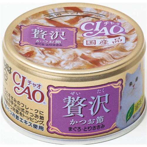 いなばペットフード チャオ缶贅沢 かつお節まぐろとりささみ80g