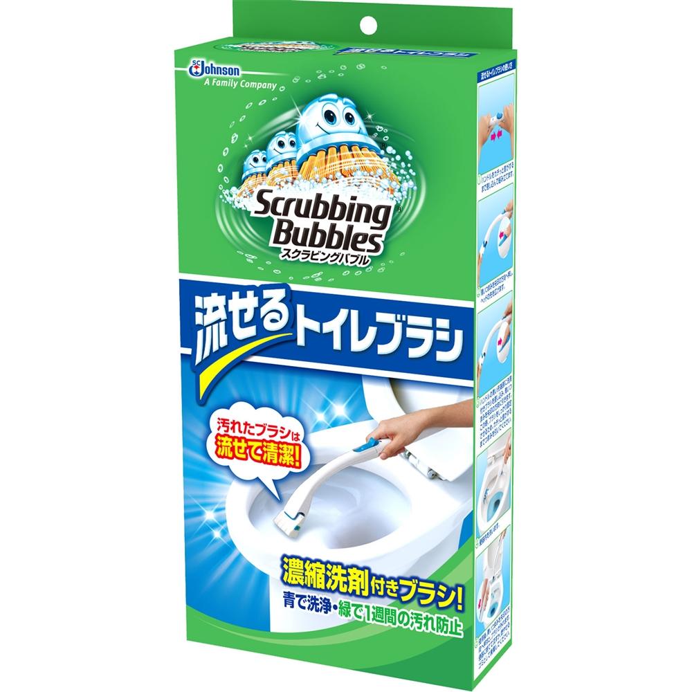 スクラビングバブル シャット 流せるトイレブラシ本体+つけかえ用ブラシ4個