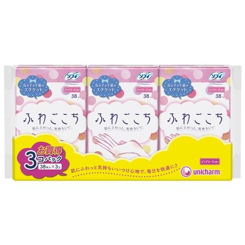 ユニ・チャーム ソフィ ふわごこち ピンクローズの香り 38コ入×3個パック(unicharm Sofy)