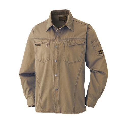 綿長袖シャツ 011−6 Dオリーブ 3L